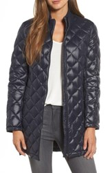 French Connection Women's Quilted Front Zip Coat Utility Blue