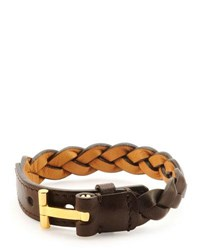 Tom Ford Nashville Men's Braided Leather Bracelet Dark Brown