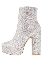 Shellys London Chanah High Heeled Ankle Boots Silver Glitter