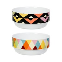 Magpie Viva Bowls Set Of 2 Chevron Diamonds