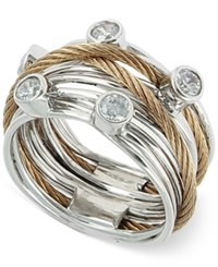 Charriol Women's Two Tone White Topaz Cable Ring Two Tone