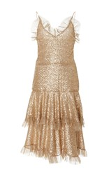 Rodarte Metallic Ruffled Lace Dress Gold