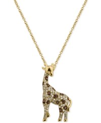 Effy Diamond Giraffe Pendant Necklace 3 8 Ct. T.W. In 14K Gold Yellow Gold
