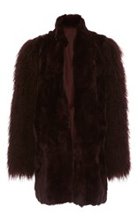 Anna Sui Mongolian Trimmed Rex Coat Brown