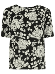 Phase Eight Marcie Floral Shift Top Black Stone