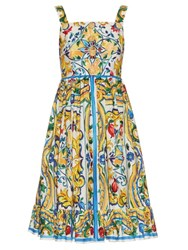 Dolce And Gabbana Majolica Print Cotton Dress White Multi