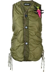 House Of Holland Gillet With Bug Badge Green
