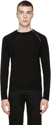 Saint Laurent Black Zipper Sweater