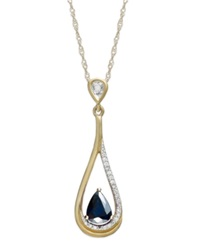 Macy's 14K Gold Necklace Sapphire 5 8 Ct. T.W. And Diamond Accent Pear Shaped Drop Pendant