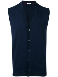 Paolo Pecora Sleeveless Cardigan Men Silk Cotton L Blue