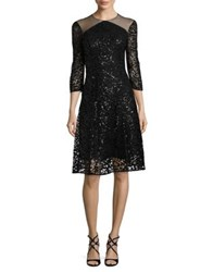 Kay Unger Elbow Sleeve Sequin Lace Cocktail Dress Black