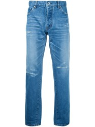 Taakk Tapered Cropped Jeans Men Cotton Polyester Rayon 2 Blue