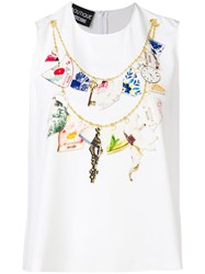 Boutique Moschino Jewel Neck Printed Top White