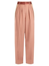 Roksanda Ilincic Tillae Contrast Stripe Wide Leg Trousers Light Pink