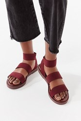 Urban Outfitters 3 Strap Elastic Sandal Maroon