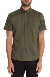 7 Diamonds Men's Crystal Film Woven Shirt Olive