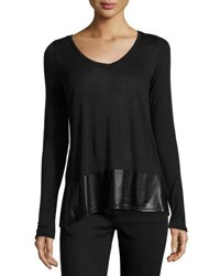 Three Dots Allie Relaxed Long Sleeve Top Black