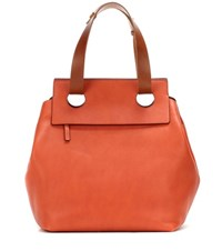 Marni Sliding Leather Shopper Orange
