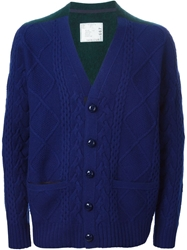Sacai Cable Knit V Neck Cardigan Blue