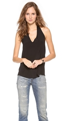 Ramy Brook Adele Halter Top With Scoop Back Black