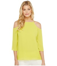 Ellen Tracy Cold Shoulder Blouse Chartreuse Women's Blouse Yellow