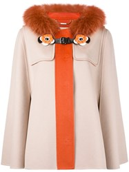 Fendi Trim Hooded Coat Women Cotton Fox Fur Lamb Skin Virgin Wool 46 Yellow Orange