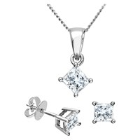 Diamond Collection 18Ct White Gold Princess Cut Solitaire Stud Earrings And Pendant Necklace Jewellery Set 0.66Ct