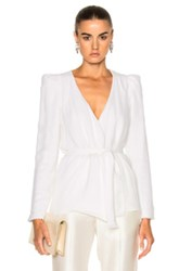 Ryan Roche Short Silk Cardigan Sweater With Knit In White