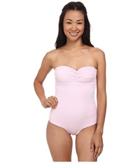 Tori Praver Lucy Smocked Full Piece Rose Women's Swimsuits One Piece Pink