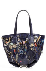 Marc Jacobs 'Wingman' Embellished Leather Shopping Tote Blue Cobalt Snake Multi