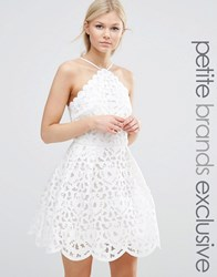 Chi Chi Petite London High Neck Cutwork Mini Prom Dress White