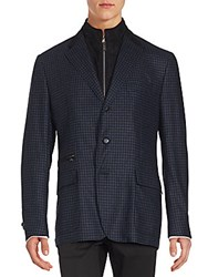 Corneliani Checked Virgin Wool And Cashmere Jacket Navy Check