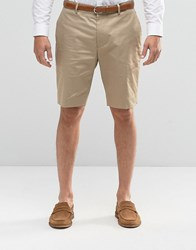 Asos Skinny Mid Length Shorts In Stone Camel Beige