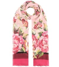 Dolce And Gabbana Floral Printed Silk Scarf Pink