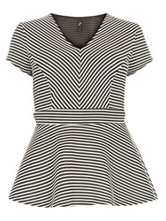 Evans Stripe Hourglass Asymmetric Top Black