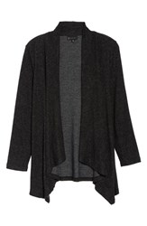 Bobeau Plus Size Amie Waterfall Cardigan Raven Black Mix