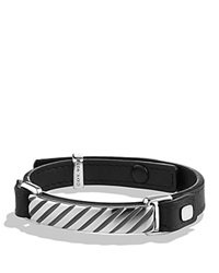 David Yurman Modern Cable Id Bracelet In Black Leather Silver Black