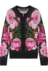Dolce And Gabbana Floral Print Cashmere Silk Blend Cardigan Pink