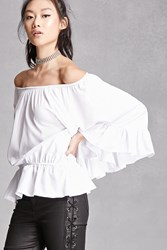 Forever 21 Off The Shoulder Peasant Top White