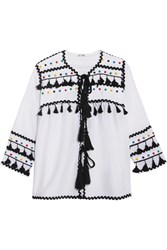 Dodo Bar Or Embellished Embroidered Cotton Gauze Top White