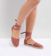 New Look Wide Fit Ankle Tie Espadrille Pink