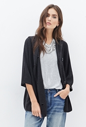 Forever 21 Hooded Double Breasted Batwing Cardigan