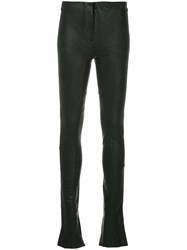Masnada Skinny Faux Leather Trousers Black