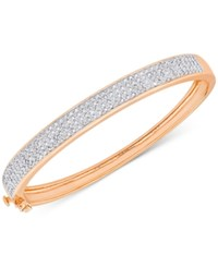 Macy's Diamond Pave Hinged Bangle Bracelet 1 Ct. T.W. In 18K Gold Plated Sterling Silver Or 18K Rose Gold Plated Sterling Silver Rose Gold Over Sterling Silver