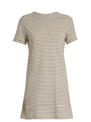 A.P.C. Mauricia Striped Cotton Blend Jersey Dress Cream Stripe