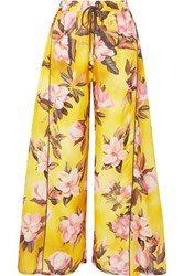F.R.S For Restless Sleepers Apate Floral Print Satin Twill Wide Leg Pants Yellow