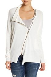 Research And Design Asymmetrical Zip Sweater White