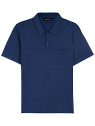 Jaeger Pique Cotton Polo Shirt Indigo