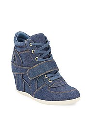 Ash Bowie Lace Up Wedge Sneakers Blue