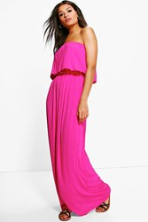 Boohoo Bandeau Frill Top Maxi Dress Fuchsia